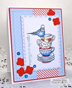 ChristineCreations: Bringing You a Budgie Good Morning! Short Stacks stamp set by Power Poppy, card design by Christine Okken!