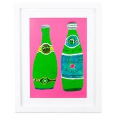 Bright Pink Perrier Print Monika Forsberg Kitchen Art