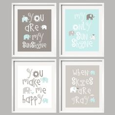 You Are My Sunshine  Art Prints/ Elephant and bird/ Mist and Gray/ 8x10 - baby shower gift, for boy or girl - purchased.