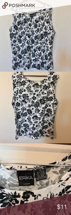 """ERIKA TOP SHIRT SLEEVELESS BLACK WHITE FLORAL ERIKA WOMENS TOP SHIRT PLUS SIZE 2X SLEEVELESS BLACK WHITE FLORAL WEAR TO WORK MEASUREMENTS LYING FLAT ARMPIT TO ARMPIT 24"""" ACROSS UNSTRETCHED LENGTH 24"""" erika Tops Blouses"""