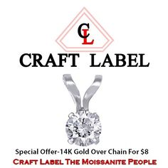 """1/6 Ct Round Brilliant Cut 14K White Gold Solitaire Pendant Without Chain """"Mother\'s Day Gift"""". Starting at $1"""