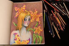 Color pencil, speed drawing video, Blue skinned blonde