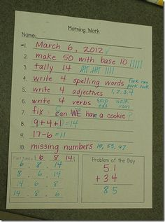 great ideas for morning work...would have to tweak it for third grade but I like the idea