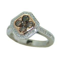 0.94 cttw.  Chocolate And White Diamond Ring https://www.goldinart.com/shop/diamond-rings/0-94-cttw-chocolate-white-diamond-ring #ChocolateDiamonds, #DiamondRings, #WhiteGold