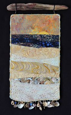 Fiber Art Quilts-Beachscape More Ocean Quilt, Beach Quilt, Small Quilts, Mini Quilts, Fiber Art Quilts, Textile Fiber Art, Fabric Postcards, Landscape Quilts, Quilt Stitching