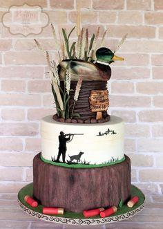 Mallard duck groom's cake (shells made from fondant; duck made from rice krispie…