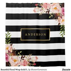 """Beautiful Floral Wrap Gold Frame Elegant Stripes Shower Curtain. Decor your bathroom in style with this """"Beautiful Floral Wrap Gold Frame Elegant Stripes Monogram Name"""" Custom Shower Curtain. (1) You are able to CHANGE the black stripes to ANY COLOR you like by clicking the """"Customize it"""" button and setting the Background Color. (2) If you need any customization or matching items, please feel free to contact me. (In case you didn't get my response, please check the email SPAM folder)"""