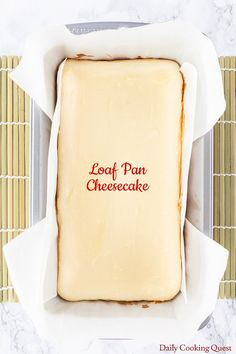 A smaller size cheesecake, made in a loaf pan, and without the need of a water bath. Cheesecake Desserts, Fun Desserts, Dessert Recipes, Cheesecake Recipe Without Springform Pan, Small Cheesecake Recipe, Homemade Cheesecake, Cupcake Recipes, Butter Chocolate Chip Cookies, Chocolate Peanut Butter