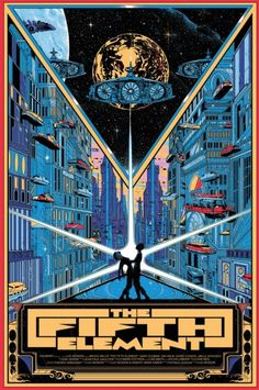 The+Fifth+Element+by+Kilian+Eng+(Regular).jpg by: Kilian Eng Best Movie Posters, Cinema Posters, Movie Poster Art, Cool Posters, Retro Poster, Vintage Posters, Vintage Movies, The Fifth Element Movie, Kilian Eng