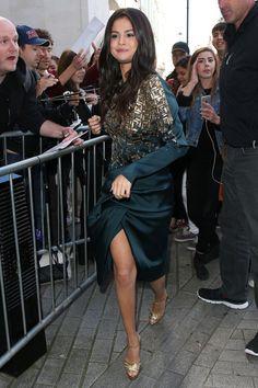 Selena Gomez wearing Antonio Berardi Embroidered Drape Wrap-Effect Dress and Charlotte Olympia Gilda Sandals