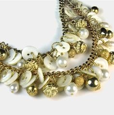 Upcycled vintage chunky button pearl necklace