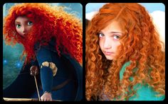 Anyone thinking of going as Merida this Halloween? ... How to Get Merida's Fiery and Curly Red Hair (even if you're hair isn't curly or red)!!! | Disney Princess Hairstyles - with straws