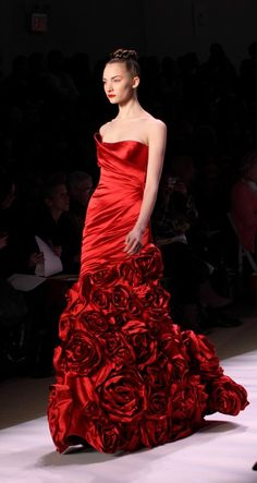 Red Flowered Gown   -  by Monique Lhuillier  I would love this for my wedding dress in a different color...
