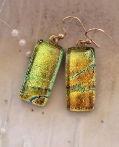 Dichroic Earrings Fused Glass Dangle Gold Filled by myfusedglass, $18.00