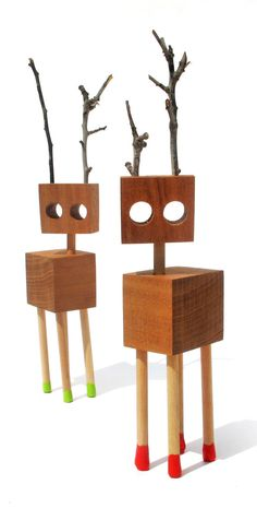 Wooden Creatures by budzikd on Etsy