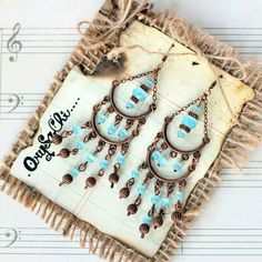"""Blue bolywood chandelier earrings Handmade earrings by me (Orysachi). Inspired of vintage bolywood. Made of blue cats eyes beads, and copper findings. Measures 5"""" drop from top hook. Follow me at Instagram @orysachi for my jewelry designs. OrySaChi Jewelry Earrings"""