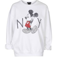 TopShop Vintage Mickey Mouse Sweatshirt (155 BRL) found on Polyvore featuring women's fashion, tops, hoodies, sweatshirts, sweaters, white, white sweatshirt, vintage tops, relaxed fit tops and topshop tops
