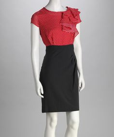 Take a look at this Salmon & Charcoal Polka Dot Dress - Women by Jemma Apparel on #zulily today!
