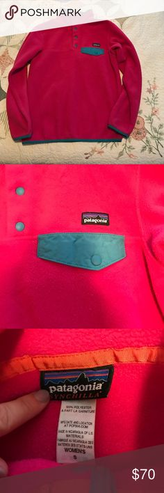 Patagonia pullover Hot pink Patagonia pull over in good condition. Pink and greenish blue lining. Offers accepted Tops Sweatshirts & Hoodies