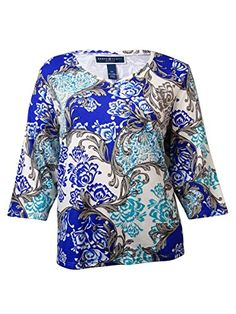 Karen Scott Womens VNeck Damask Knit Top S Deep Pacific ** Find out more about the great product at the image link.
