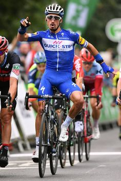 Arrival / Julian Alaphilippe of France and Team QuickStep Floors / Celebration / Patrick Bevin of New Zealand and BMC Racing Team / Emils Liepins of. Racing Team, Road Racing, Uci World Tour, Tour Of Britain, Lycra Men, Paris Roubaix, Bicycle Race, Pro Cycling, Sport Man