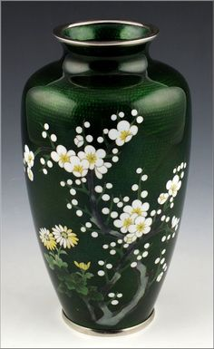Fine signed Inaba Japanese Cloisonné Vase w/Flowers Inaba