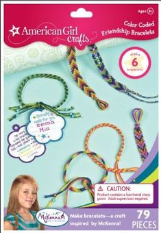 American Girl Crafts Color Coded Friendship Bracelet Kit, McKenna Girl of The Year 2012 by EKSuccess. $10.99. American Girl Crafts Color Coded Friendship Bracelet Kit inspired by 2012 Girl of the Year McKenna. Braid and bead bracelets to give to your friends. Kit includes: 42-yards of embroidery floss in 7 colors, 57 beads, 6 star beads, 8 gift tags, 1 wire needle and a project and idea booklet. For ages 8 years and up. Includes 79 pieces to make 6 bracelets. From the M...