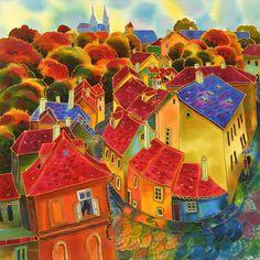 Lavender Evening. Prague ~ Yelena Sidorova silk painting