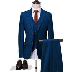 Good Offer for Blue Tailor Made Suits Fashion Event 3 Piece Customize Suit Men Plus Size Casual Custom Made Suit If You want to buy fo. Tailor Made Suits, Custom Made Suits, Mens Tailor, Grey Suit Men, Black Suits, Mens Suits, Wedding Dress Suit, Wedding Suits, Plaid Suit