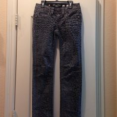 Miss me jeans Grey with a hardly seen cheetah print. They were special edition.  Never worn Miss Me Jeans Skinny