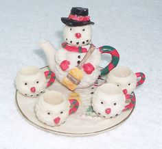 Miniature Bisque Christmas Snowman Tea Set Teapot 4 Mugs Tray from 1985 | eBay