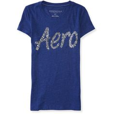 Aero Sequin Graphic T ($5) ❤ liked on Polyvore featuring tops, t-shirts, midnight blue, lightweight cotton t shirts, blue top, sequin tee, aeropostale t shirts and blue tee