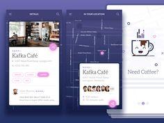 Mobile App by ⚡ Michał Ptaszyński ⚡ for EL Passion on Dribbble Web Design, App Ui Design, Flat Design, Icon Design, R Cafe, Event App, Ad App, Tablet Ui, Mobile Ui Design