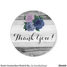 Rustic Country Barn Wood Vintage Roses Thank You Classic Round Sticker