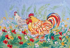 Visit the post for more. Contemporary Decorative Art, Greek Art, Naive Art, Flower Art, Folk Art, Rooster, Objects, Watercolor, Wallpaper