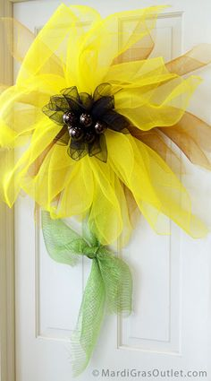 Deco Mesh Sunflower Door Decoration