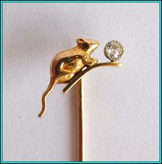 18k GOLD FRENCH HALLMARKED Hat Stick, Pin, Tie Pin, Lapel Pin w/Diamond | eBay