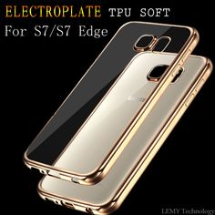 Ultra Thin Rubber Plating Transparent Back Cover for Samsung Galaxy S7 Electroplating Crystal TPU Soft Case For S7 Edge bag