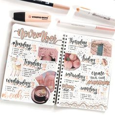 bullet journal bujo planner ideas for weekly spreads studygram study gram pink peach