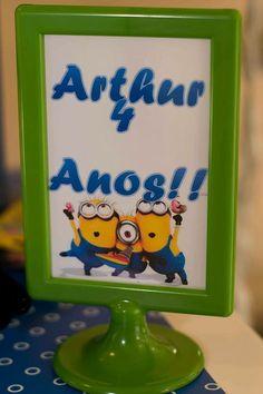 Festa tema minions Arthur e anos