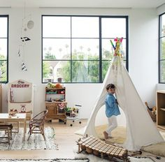 Dream House Alert: Jenni Kayne's Beverly Hills Home Jenni Kayne Softened up her kids' playroom with Moroccan wedding blankets and sheepskin throws used as rugs. Cabana, Modern Baby Names, Moroccan Wedding Blanket, Beverly Hills Houses, Dream House Interior, Dream House Plans, Cool Rooms, Kid Spaces, Decoration