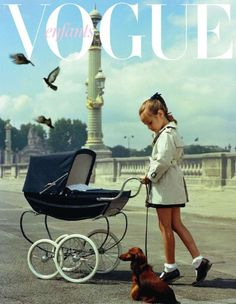 Dachshund and girl pushing pram from Vogue Enfants Baby Kind, Buggy, Vogue Covers, Dachshund Love, Daschund, Baby Carriage, Vintage Vogue, Vintage Pram, Toddler Girls