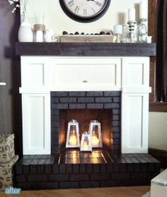 Fireplace makeover, covered up most of the brick with board and batten look. Also I like the lanterns in the fireplace! plus our fireplace doesn't even warm up the whole house Home Living Room, House, Family Room, Home, Fireplace Design, New Homes, Brick Fireplace Makeover, Unused Fireplace, Fireplace