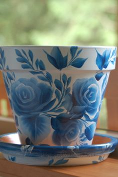 6 inch Hand Painted clay flower pot with a matching saucer Blue roses design in one stroke style