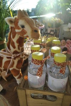 Drinks at a giraffe baby shower party! See more party planning ideas at CatchMyParty.com!