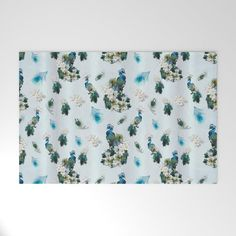 Royal Peacock - Feathers Repeat Wallpaper Welcome Mat by justkidding #WelcomeMat #graphicdesign #birds #peacocks #flowers #whiteflowers