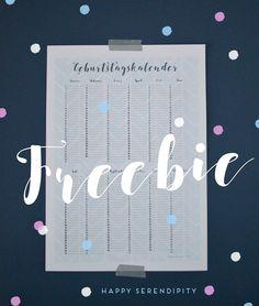 geburtstagskalender freebie, kostenloser geburtstagskalender zum herunterladen, happy serendipity kostenloser download