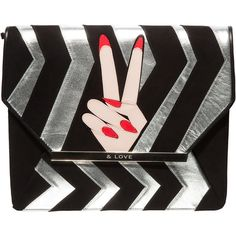 MINNA PARIKKA PEACE LOVE CLUTCH ($725) ❤ liked on Polyvore featuring bags, handbags, clutches, peace sign handbags, minna parikka, peace purse, peace sign purse and peace handbags