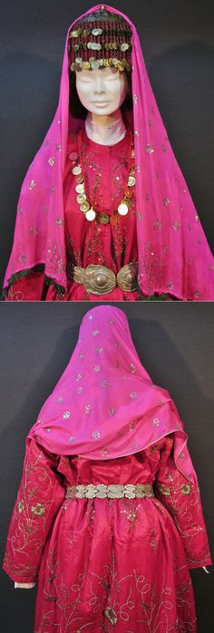 Close-ups of a bridal costume from Balıkesir town (& nearby villages). Late-Ottoman style, 1930-40s. Set up around a reddish pink silk robe, adorned with large roses in golden thread embroidery, golden spirals & copper sequins.  The 'tepelikli fes' (hat with silver cover) and the silk headscarf (adorned with sequins & white silk threads) date from the same period, as does the bronze cast belt, which features European 'Art Nouveau' influence. (Kavak Costume Collection-Antwerpen/Belgium).