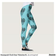 Steampunk Clock Gear Valentine Heart Leggings - Printed #Yoga #Leggings & Running Tights Creative Workout and #Gym #Fashion Designs From International Artists - #pilates #exercise #crossfit #workout #tights #running #sports #design #fashiondesign #designer #fashiondesigner #style #pants